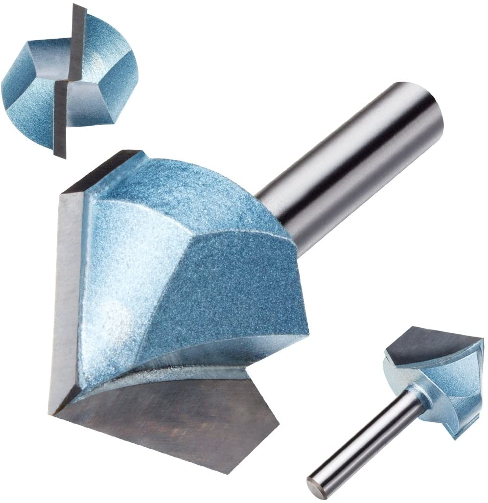 Uxcell 1-Inch Cutting 1/4-Inch Shank 90 Degree Carbide Tipped Double Flute