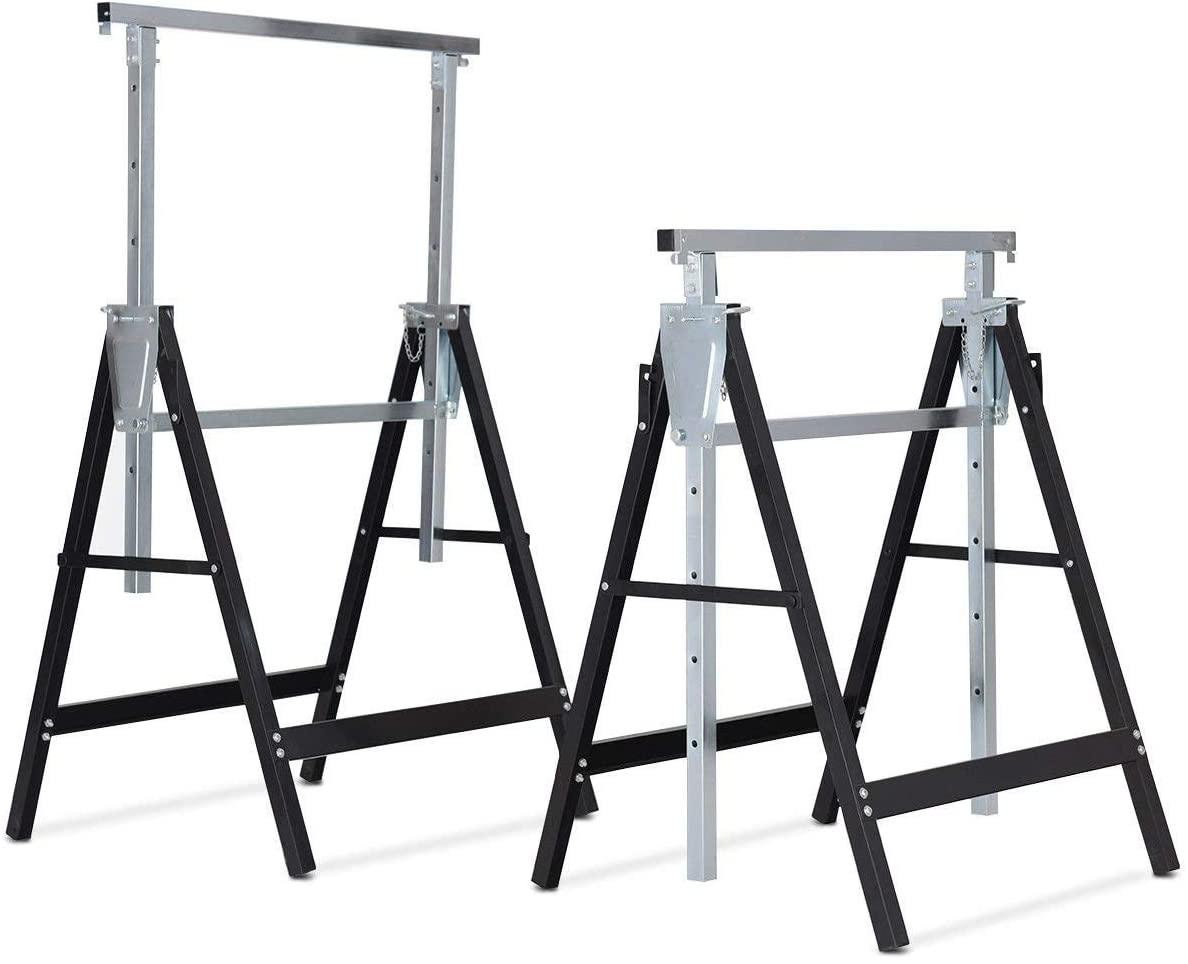 Goplus Folding Sawhorse Pair, 2-Pack Height Adjustable Saw Horses