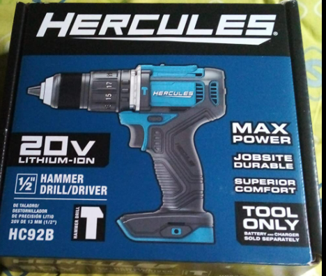 Hercules 20V Lithium Cordless 1 2in Compact Drill Kit